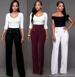 Create a clean look with high waisted trousers.